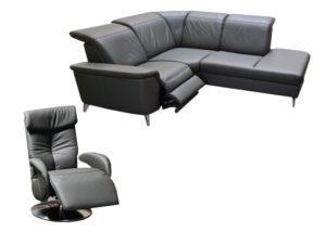 """Minkštas odinis kampas """"Nemo"""" su elektrine relax funkcija + Fotelis"""